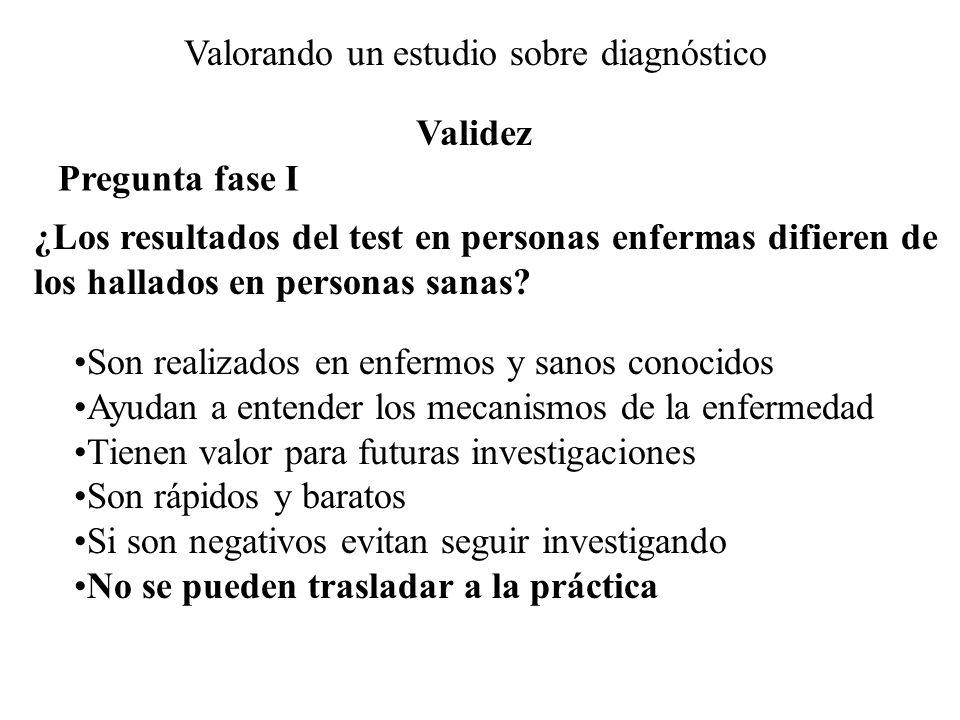 Valorando un estudio sobre diagnóstico Pregunta fase I ¿Los resultados del test en personas enfermas difieren de los hallados en personas sanas? Son r