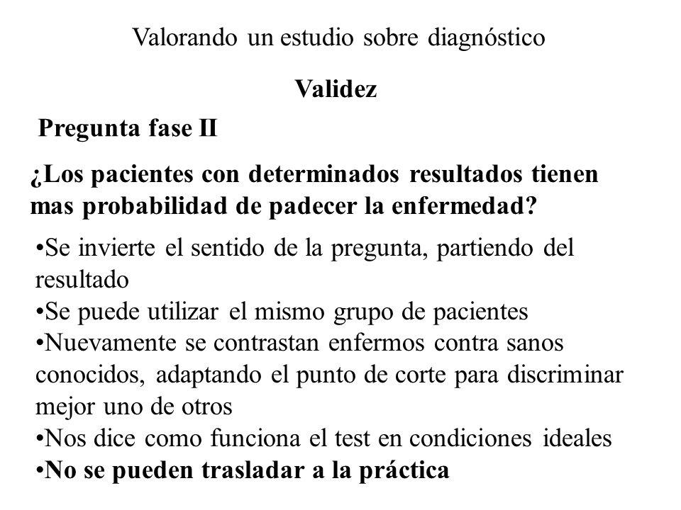Valorando un estudio sobre diagnóstico Pregunta fase II ¿Los pacientes con determinados resultados tienen mas probabilidad de padecer la enfermedad? S