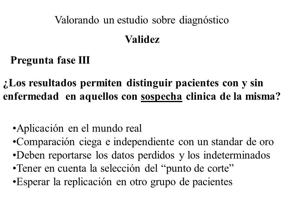 Valorando un estudio sobre diagnóstico Pregunta fase III ¿Los resultados permiten distinguir pacientes con y sin enfermedad en aquellos con sospecha c