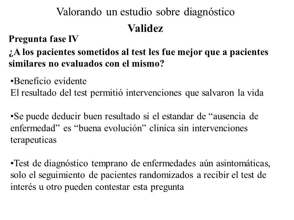 Valorando un estudio sobre diagnóstico Pregunta fase IV ¿A los pacientes sometidos al test les fue mejor que a pacientes similares no evaluados con el