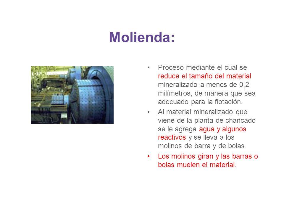 Molienda: Proceso mediante el cual se reduce el tamaño del material mineralizado a menos de 0,2 milímetros, de manera que sea adecuado para la flotaci
