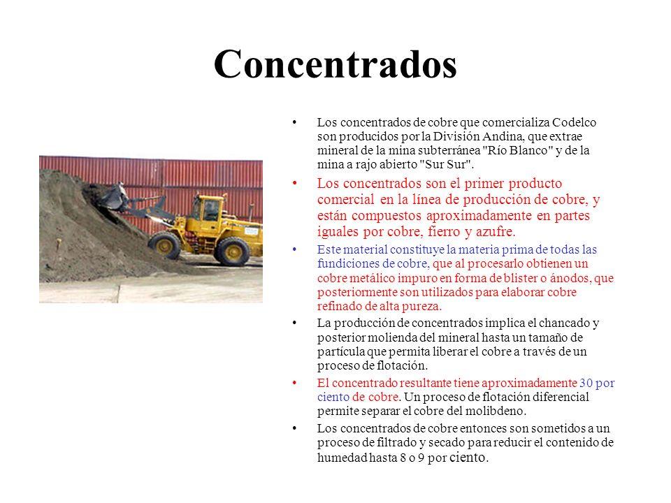 Concentrados Los concentrados de cobre que comercializa Codelco son producidos por la División Andina, que extrae mineral de la mina subterránea