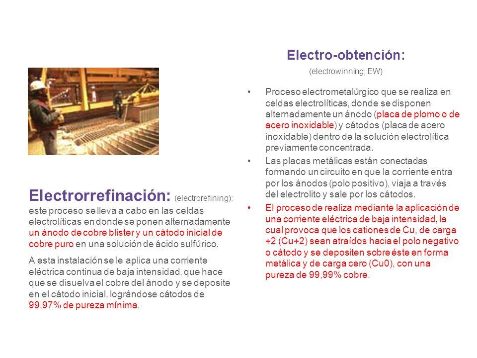 Electro-obtención: (electrowinning, EW) Proceso electrometalúrgico que se realiza en celdas electrolíticas, donde se disponen alternadamente un ánodo