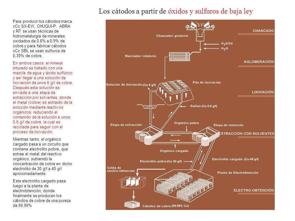 Para producir los cátodos marca cCc SX-EW, CHUQUI-P, ABRA y RT se usan técnicas de hidrometalurgia de minerales oxidados de 0,6% a 0,9% de cobre y par