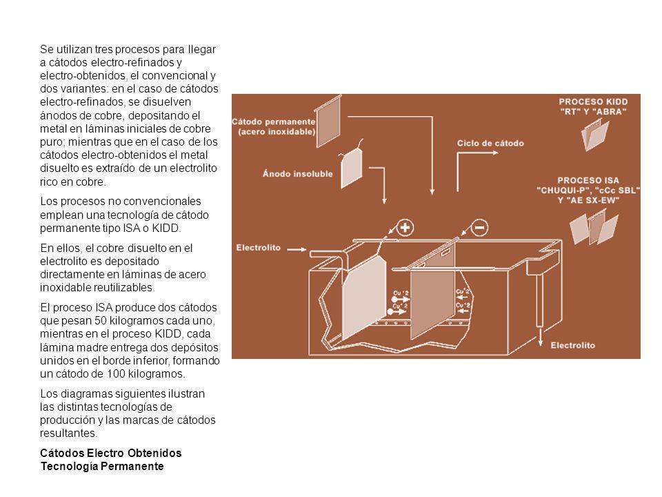 Se utilizan tres procesos para llegar a cátodos electro-refinados y electro-obtenidos, el convencional y dos variantes: en el caso de cátodos electro-