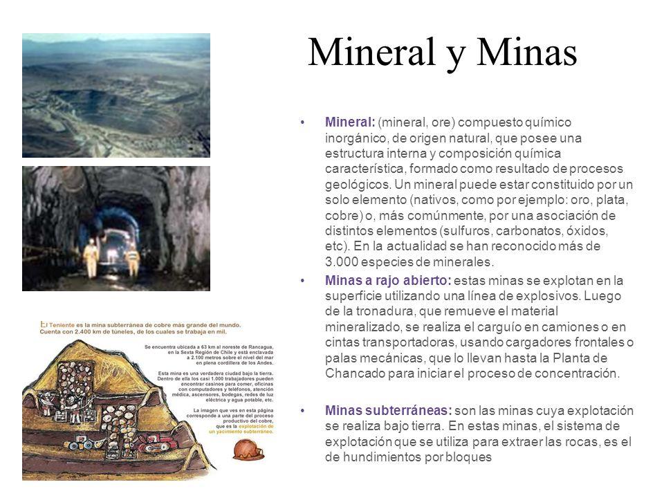 Mineral y Minas Mineral: (mineral, ore) compuesto químico inorgánico, de origen natural, que posee una estructura interna y composición química caract