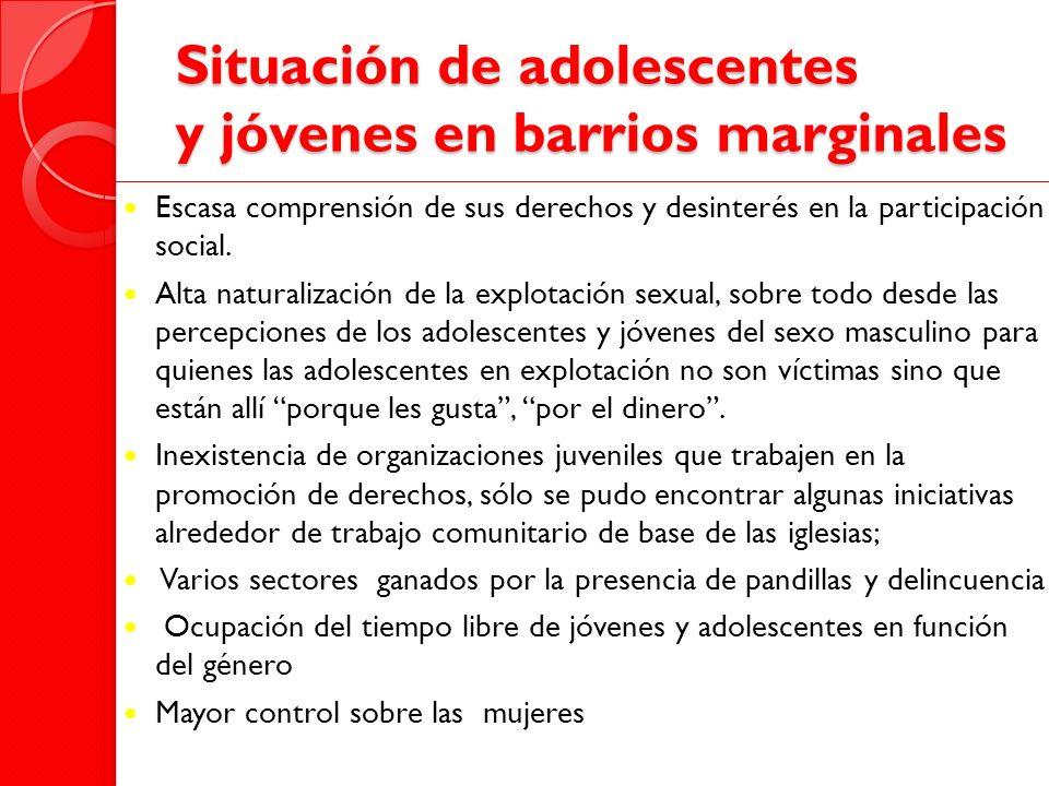 Situación de adolescentes y jóvenes en barrios marginales Escasa comprensión de sus derechos y desinterés en la participación social. Alta naturalizac