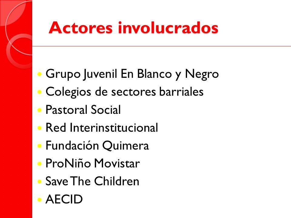 Actores involucrados Grupo Juvenil En Blanco y Negro Colegios de sectores barriales Pastoral Social Red Interinstitucional Fundación Quimera ProNiño M