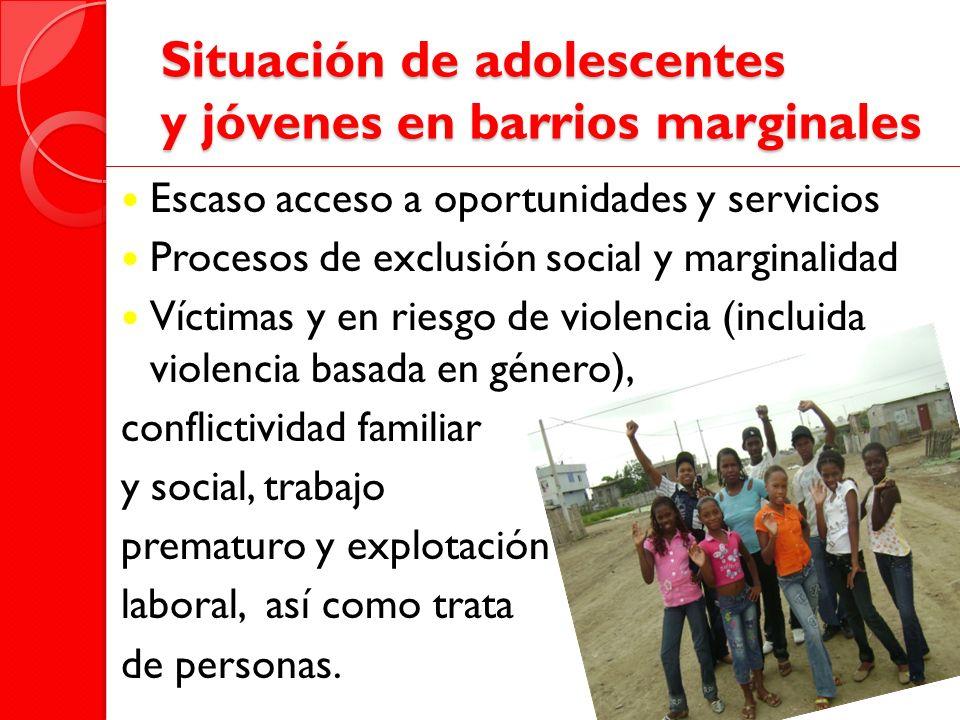 Situación de adolescentes y jóvenes en barrios marginales Escaso acceso a oportunidades y servicios Procesos de exclusión social y marginalidad Víctim