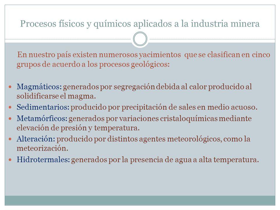 Procesos físicos y químicos aplicados a la industria minera En nuestro país existen numerosos yacimientos que se clasifican en cinco grupos de acuerdo