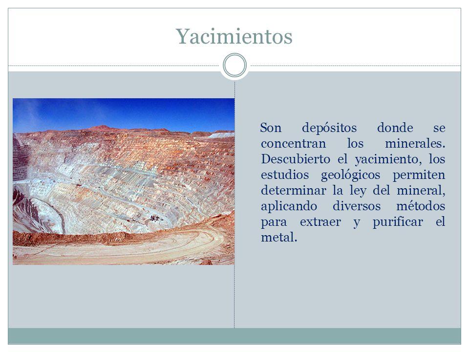 Yacimientos Son depósitos donde se concentran los minerales. Descubierto el yacimiento, los estudios geológicos permiten determinar la ley del mineral