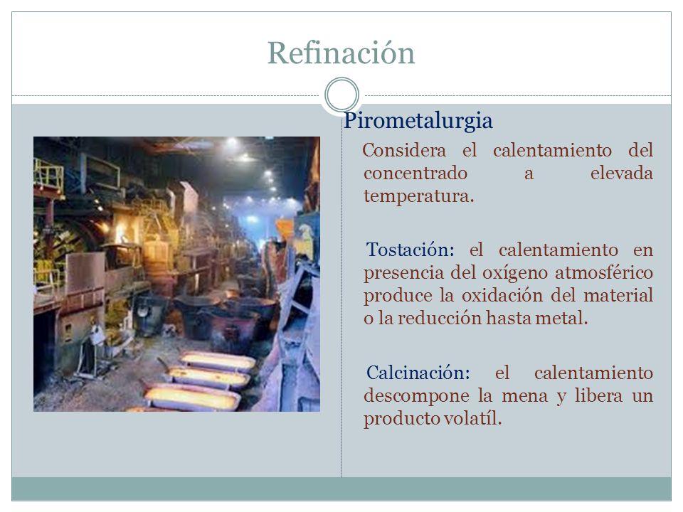 Refinación Pirometalurgia Considera el calentamiento del concentrado a elevada temperatura. Tostación: el calentamiento en presencia del oxígeno atmos