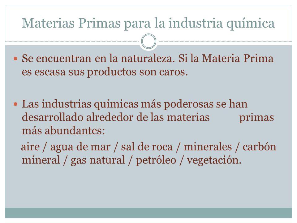 Materias Primas para la industria química Se encuentran en la naturaleza. Si la Materia Prima es escasa sus productos son caros. Las industrias químic