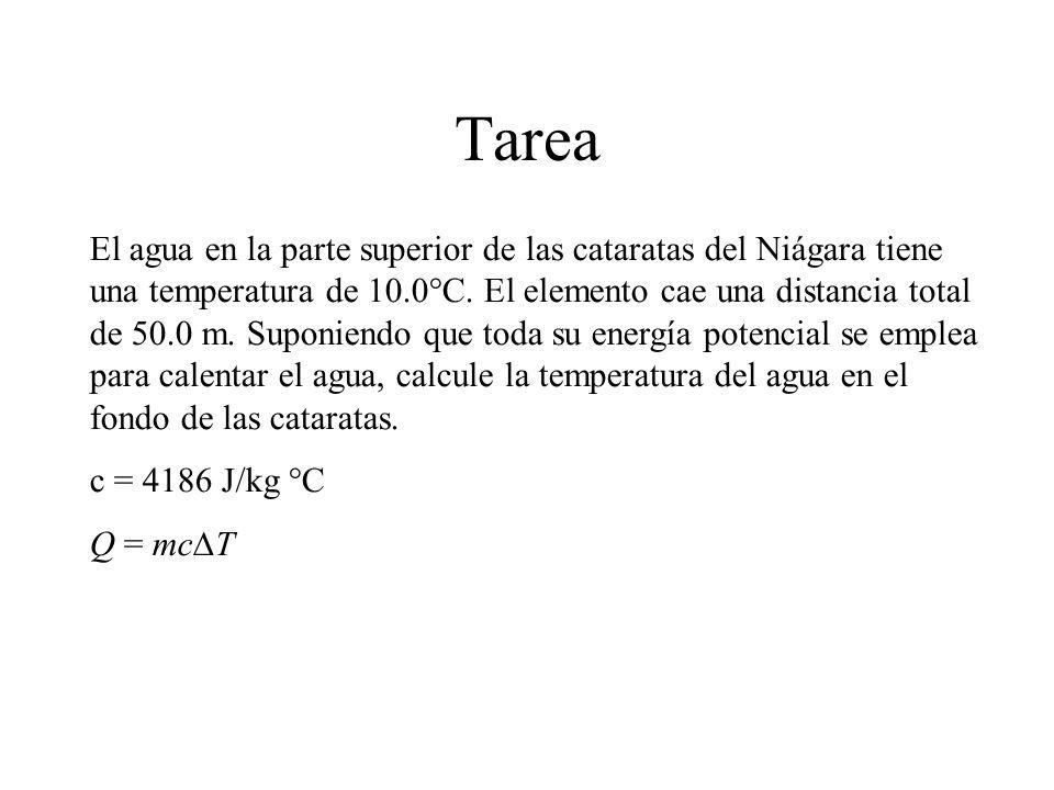 Tarea El agua en la parte superior de las cataratas del Niágara tiene una temperatura de 10.0°C. El elemento cae una distancia total de 50.0 m. Suponi