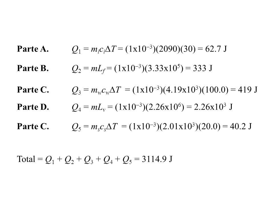Parte A.Q 1 = m i c i T = (1x10 –3 )(2090)(30) = 62.7 J Parte B.Q 2 = mL f = (1x10 –3 )(3.33x10 5 ) = 333 J Parte C.Q 3 = m w c w T = (1x10 –3 )(4.19x