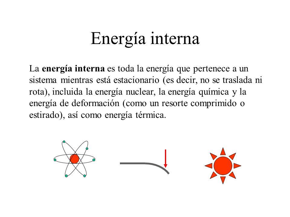 Energía interna La energía interna es toda la energía que pertenece a un sistema mientras está estacionario (es decir, no se traslada ni rota), inclui