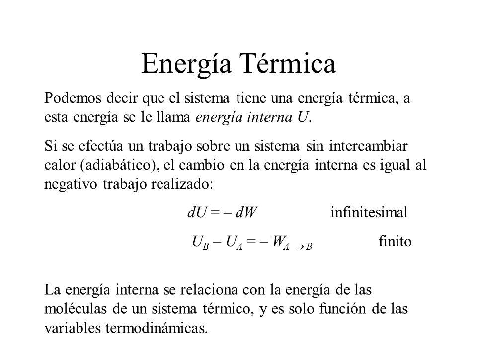 Podemos decir que el sistema tiene una energía térmica, a esta energía se le llama energía interna U. Si se efectúa un trabajo sobre un sistema sin in