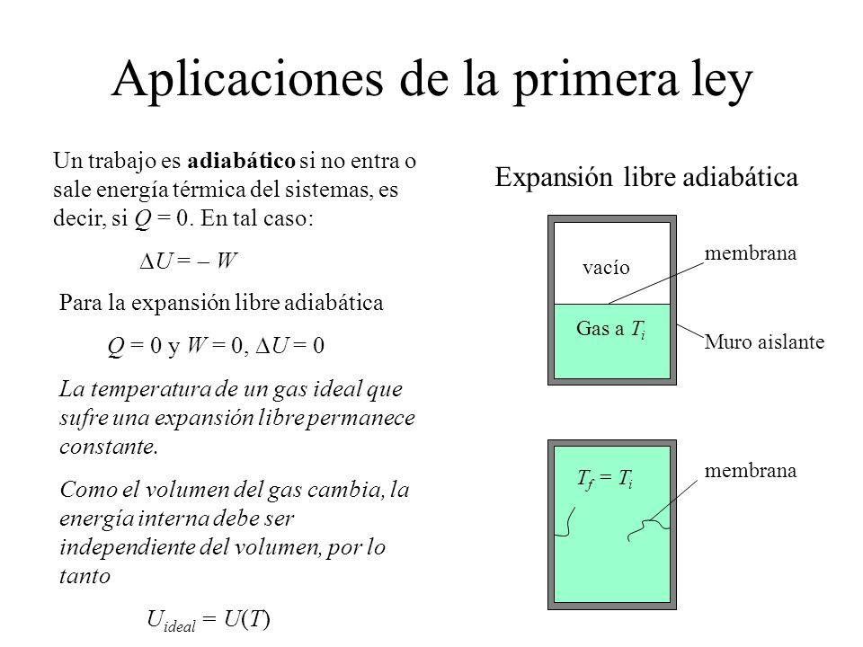Aplicaciones de la primera ley Un trabajo es adiabático si no entra o sale energía térmica del sistemas, es decir, si Q = 0. En tal caso: U = W Expans