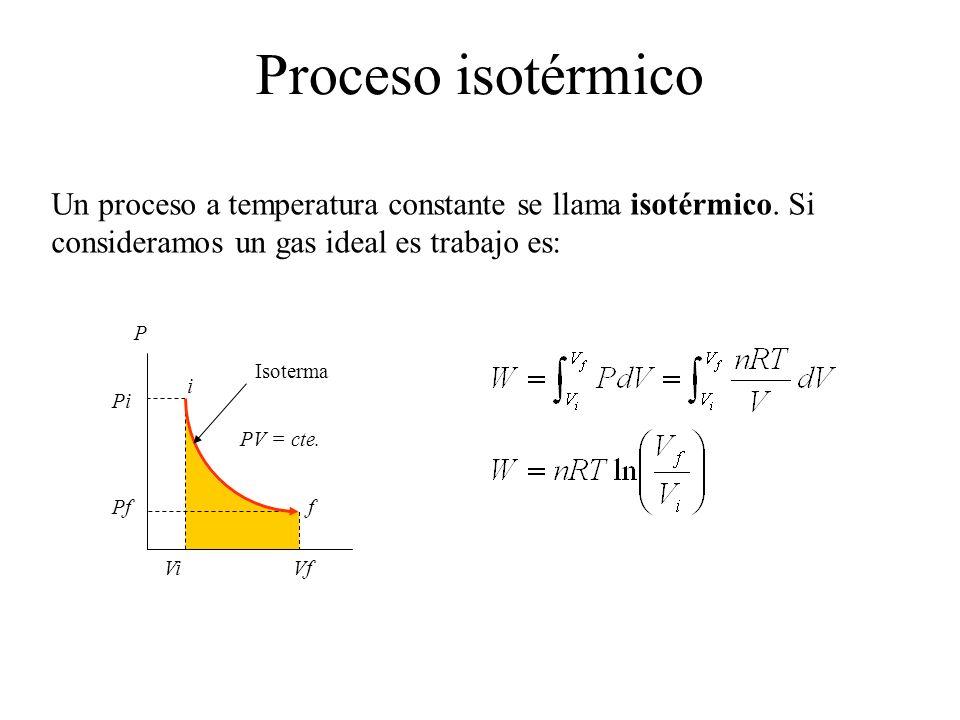 Un proceso a temperatura constante se llama isotérmico. Si consideramos un gas ideal es trabajo es: Pi Pf ViVf P f i PV = cte. Isoterma Proceso isotér