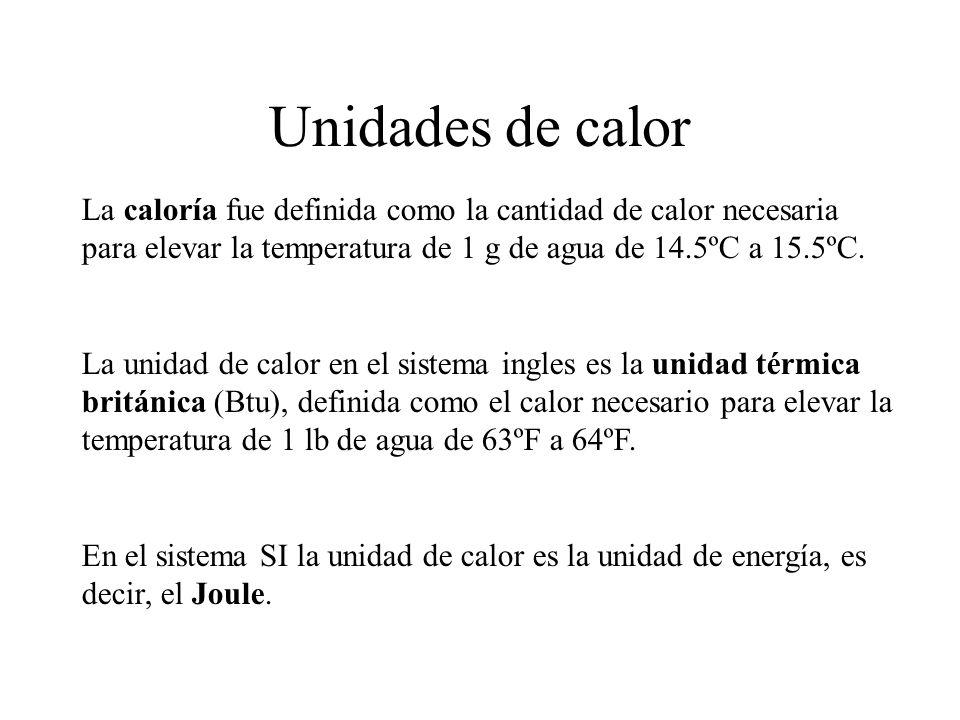 Unidades de calor La caloría fue definida como la cantidad de calor necesaria para elevar la temperatura de 1 g de agua de 14.5ºC a 15.5ºC. La unidad