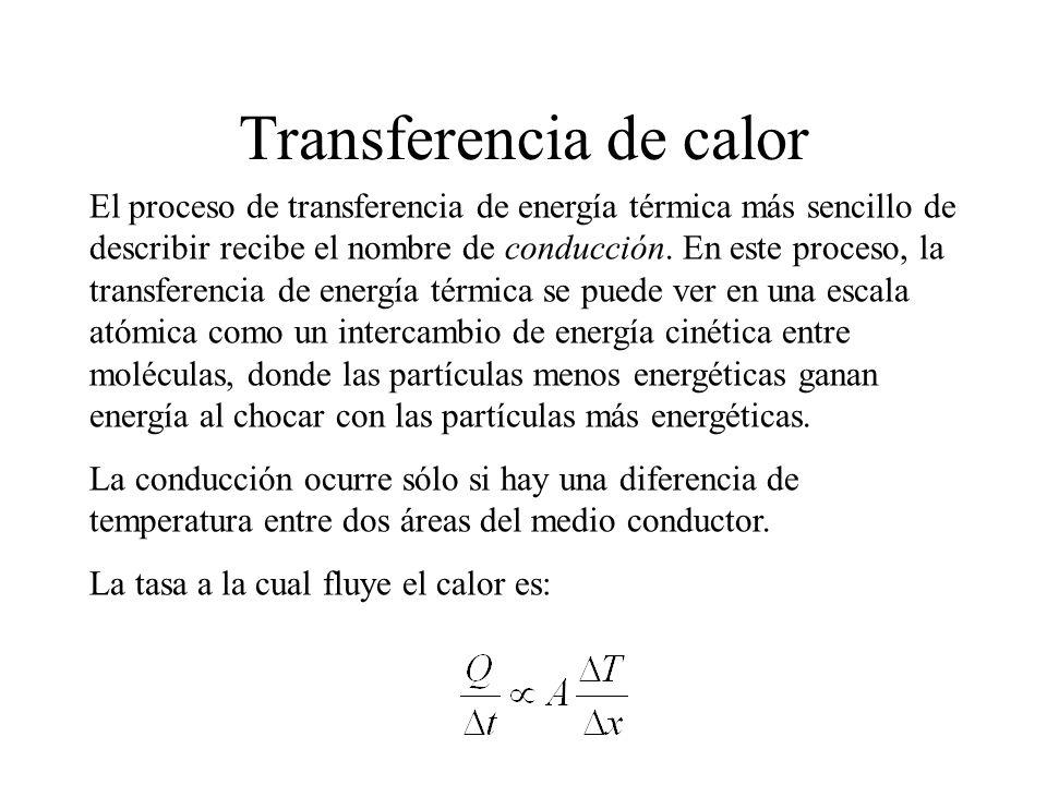 Transferencia de calor El proceso de transferencia de energía térmica más sencillo de describir recibe el nombre de conducción. En este proceso, la tr