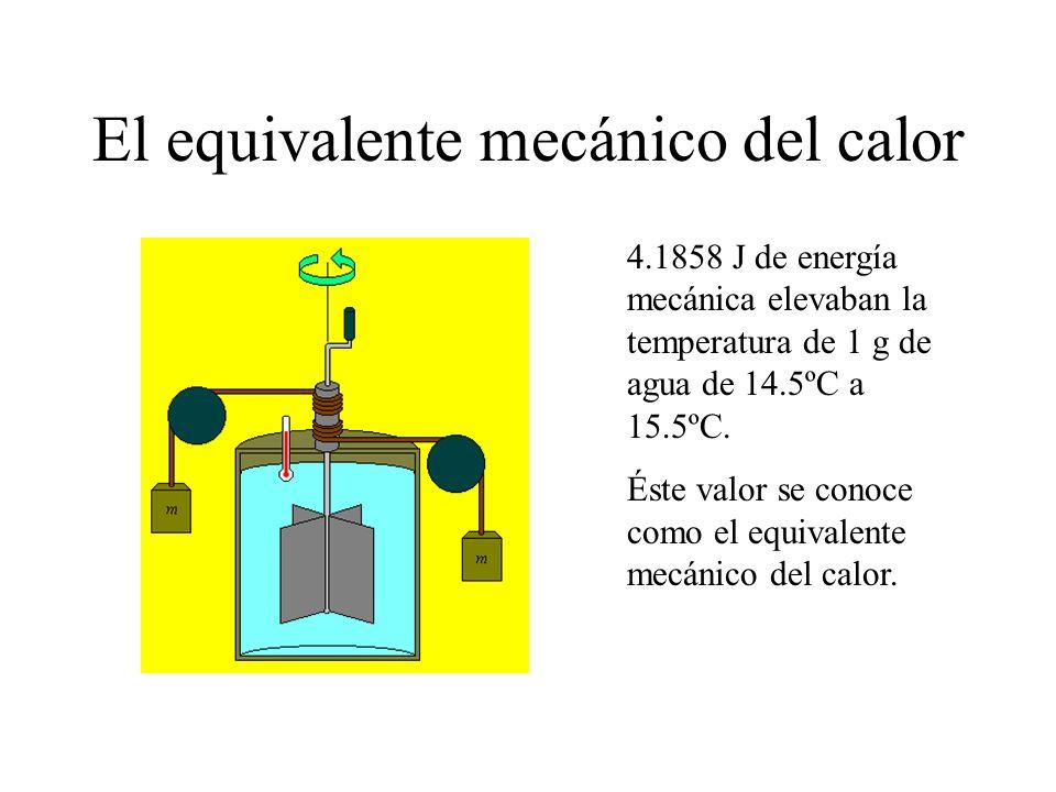 El equivalente mecánico del calor 4.1858 J de energía mecánica elevaban la temperatura de 1 g de agua de 14.5ºC a 15.5ºC. Éste valor se conoce como el