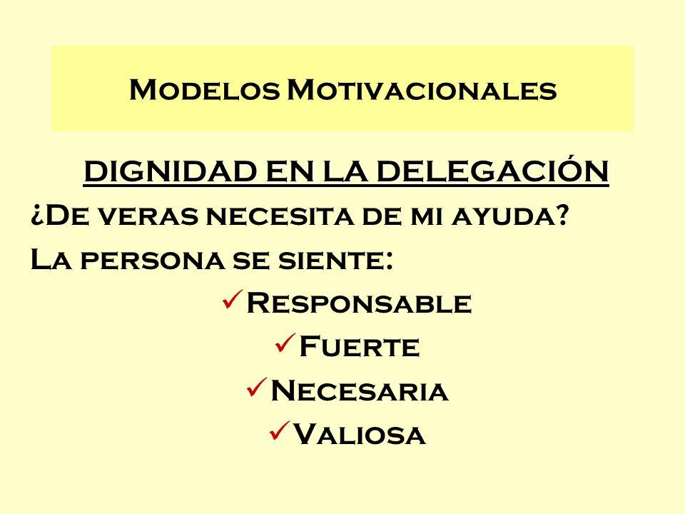 DIGNIDAD EN LA DELEGACIÓN ¿De veras necesita de mi ayuda? La persona se siente: Responsable Fuerte Necesaria Valiosa Modelos Motivacionales