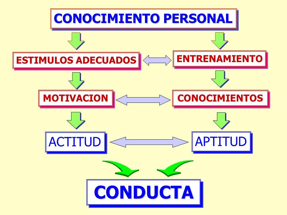 CONDUCTACONDUCTA ACTITUD APTITUD ESTIMULOS ADECUADOS MOTIVACION ENTRENAMIENTO CONOCIMIENTOS CONOCIMIENTO PERSONAL