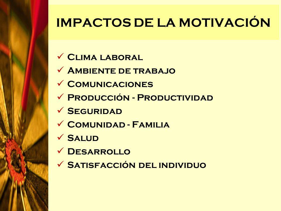 IMPACTOS DE LA MOTIVACIÓN Clima laboral Ambiente de trabajo Comunicaciones Producción - Productividad Seguridad Comunidad - Familia Salud Desarrollo S