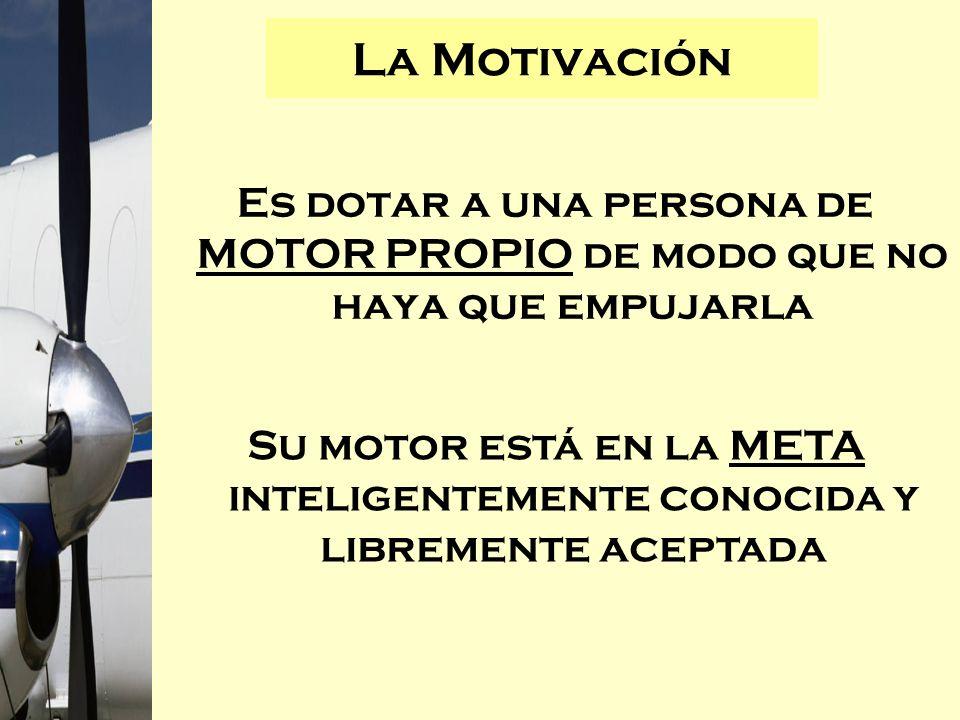 Es dotar a una persona de MOTOR PROPIO de modo que no haya que empujarla La Motivación Su motor está en la META inteligentemente conocida y libremente
