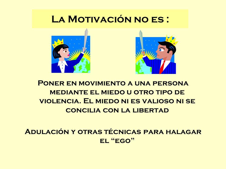 La Motivación no es : Poner en movimiento a una persona mediante el miedo u otro tipo de violencia. El miedo ni es valioso ni se concilia con la liber