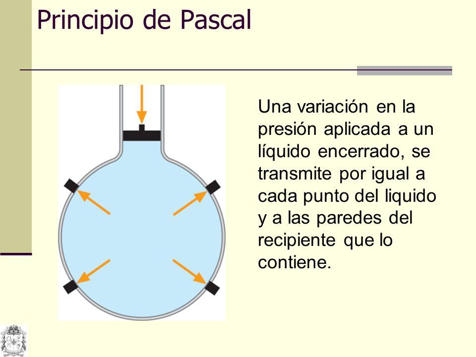 PRENSA HIDRAULICA Las presiones en los 2 émbolos son iguales: 11 La ventaja que presentan los líquidos es que al transmitir Presiones, pueden multiplicar las Fuerzas aumentando el área sobre la cuál se ejerce.