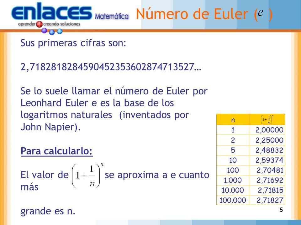 5 Sus primeras cifras son: 2,7182818284590452353602874713527… Se lo suele llamar el número de Euler por Leonhard Euler e es la base de los logaritmos