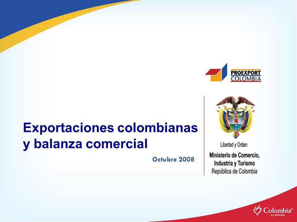 Exportaciones colombianas y balanza comercial Octubre 2008