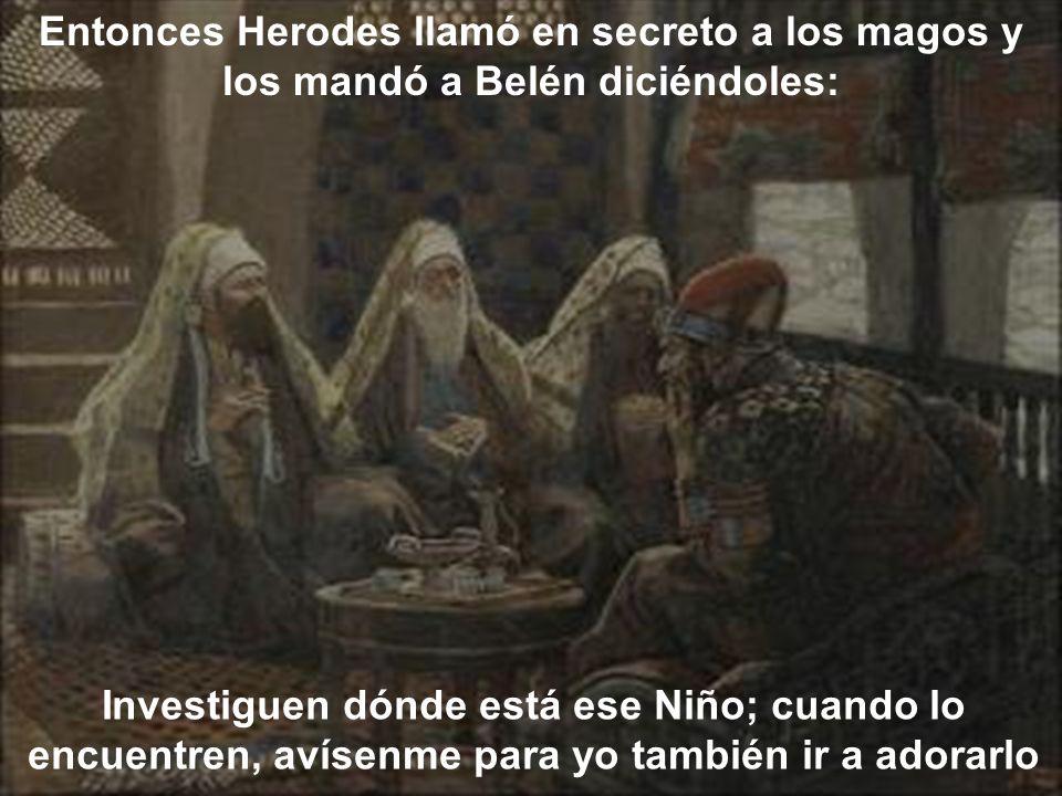 Entonces Herodes llamó en secreto a los magos y los mandó a Belén diciéndoles: Investiguen dónde está ese Niño; cuando lo encuentren, avísenme para yo también ir a adorarlo
