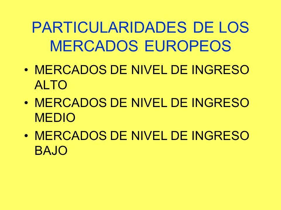 PARTICULARIDADES DE LOS MERCADOS EUROPEOS MERCADOS DE NIVEL DE INGRESO ALTO MERCADOS DE NIVEL DE INGRESO MEDIO MERCADOS DE NIVEL DE INGRESO BAJO