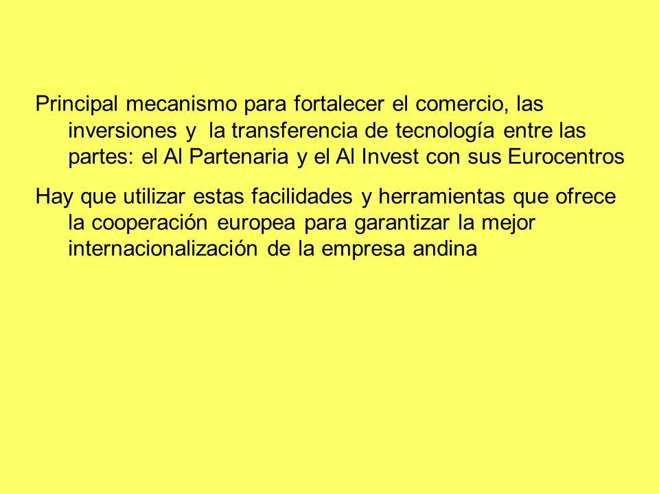 Principal mecanismo para fortalecer el comercio, las inversiones y la transferencia de tecnología entre las partes: el Al Partenaria y el Al Invest co