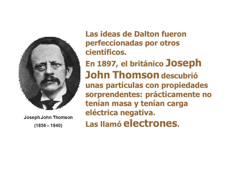 Teoría de Dalton 1808: Dalton retoma las teorías de Demócrito y Leucipo Los compuestos químicos están formados por átomos de compuesto, todos iguales entre sí, en proporciones definidas y constantes.