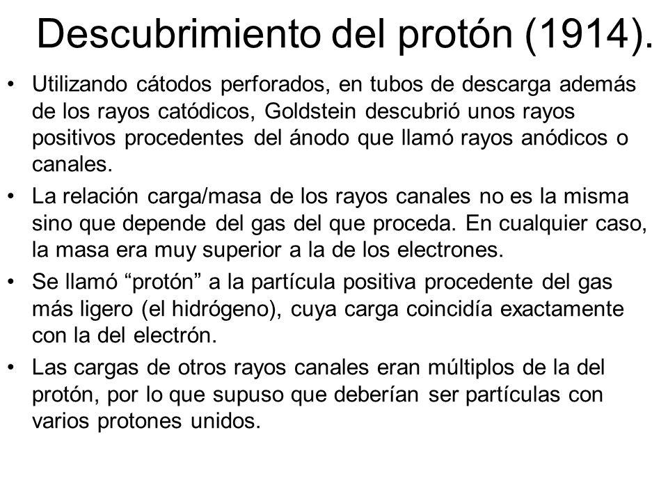 Experimento de Goldstein Estudia rayos canales y descubre los protones (p+) Carga positiva Protones