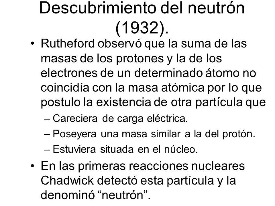 Posteriormente, en 1932, Chadwick descubre el neutrón, con lo cual la idea de átomo se estructura en base a protones y neutrones centrales, mas los electrones dando giros circulares en torno a este núcleo Modelo de Rutherford NU CLEO Electrones giran en algun lugar