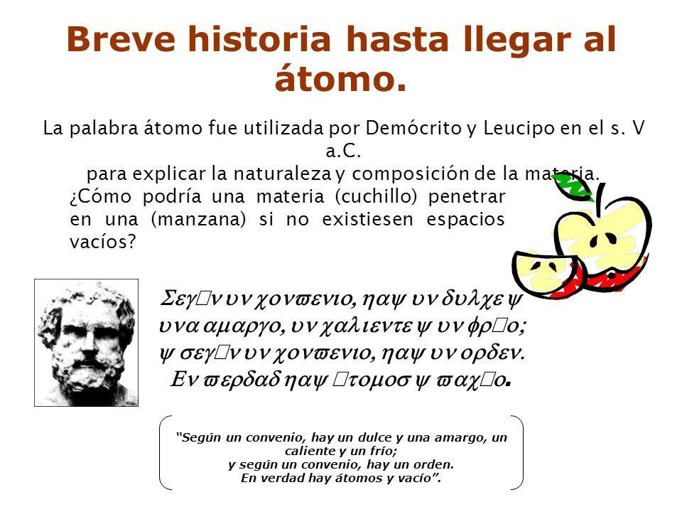La palabra átomo fue utilizada por Demócrito y Leucipo en el s.