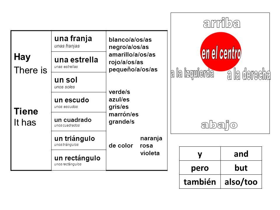 Hay There is Tiene It has una franja unas franjas blanco/a/os/as negro/a/os/as amarillo/a/os/as rojo/a/os/as pequeño/a/os/as verde/s azul/es gris/es m