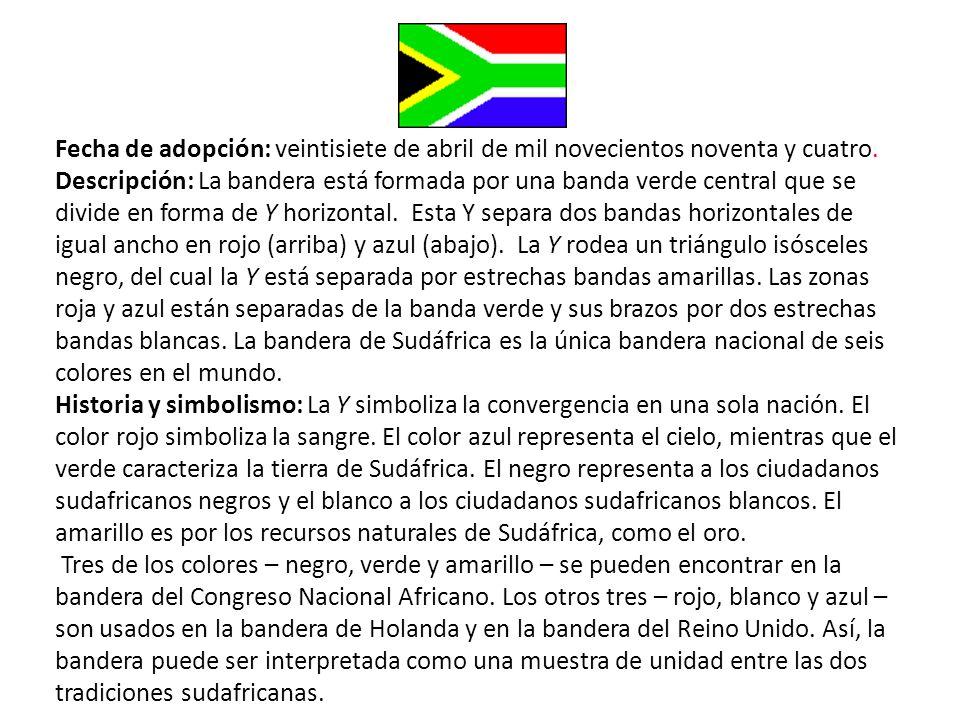 Fecha de adopción: veintisiete de abril de mil novecientos noventa y cuatro. Descripción: La bandera está formada por una banda verde central que se d