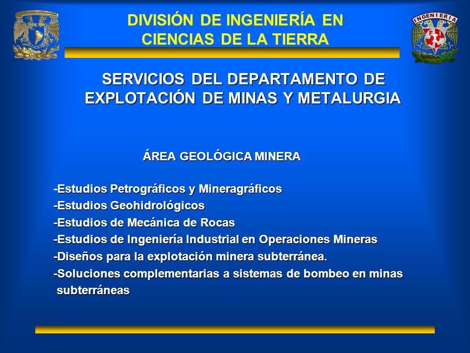 SERVICIOS DEL DEPARTAMENTO DE EXPLOTACIÓN DE MINAS Y METALURGIA ÁREA GEOLÓGICA MINERA Estudios Petrográficos y Mineragráficos -Estudios Petrográficos