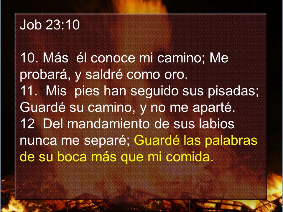 Job 23:10 10.Más él conoce mi camino; Me probará, y saldré como oro.