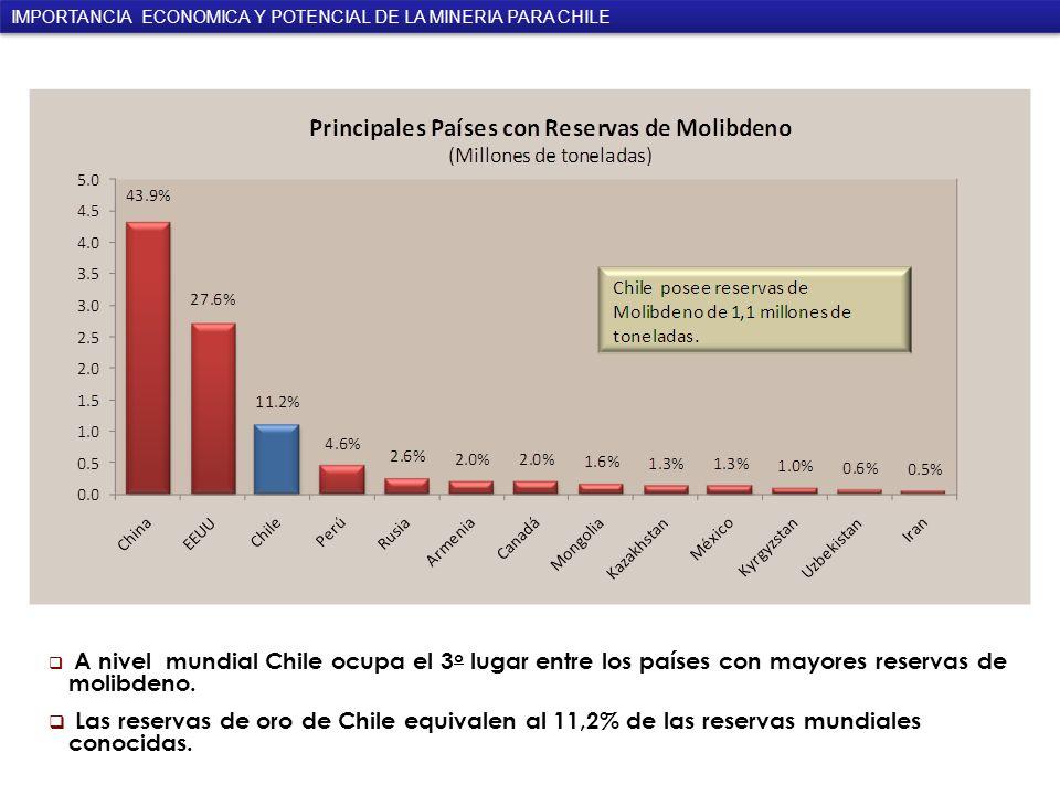A nivel mundial Chile ocupa el 3 o lugar entre los países con mayores reservas de molibdeno.