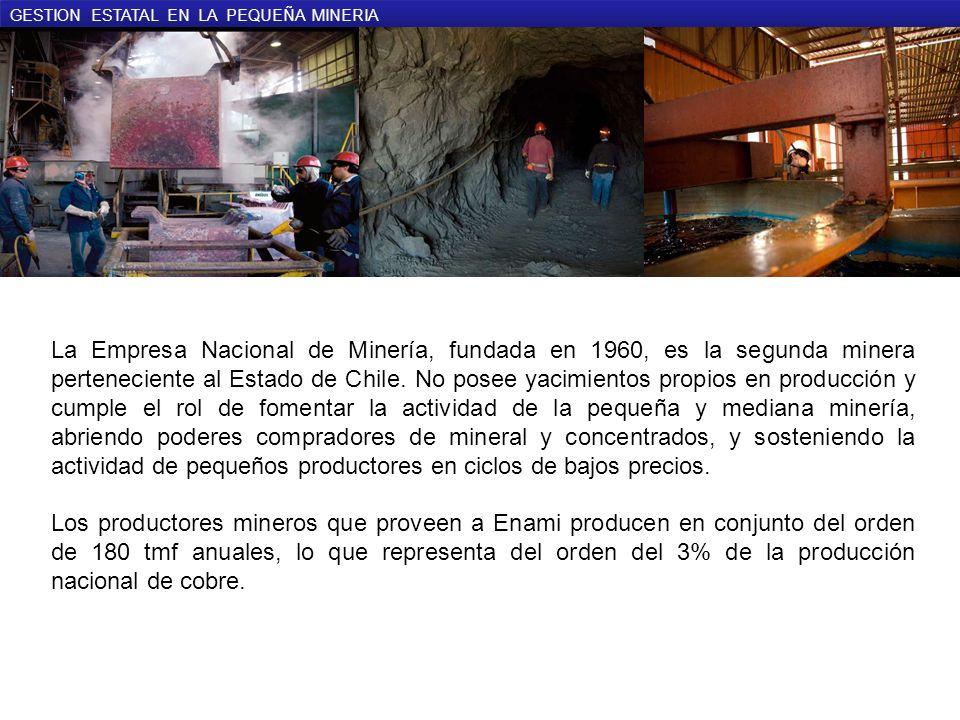 GESTION ESTATAL EN LA PEQUEÑA MINERIA La Empresa Nacional de Minería, fundada en 1960, es la segunda minera perteneciente al Estado de Chile.