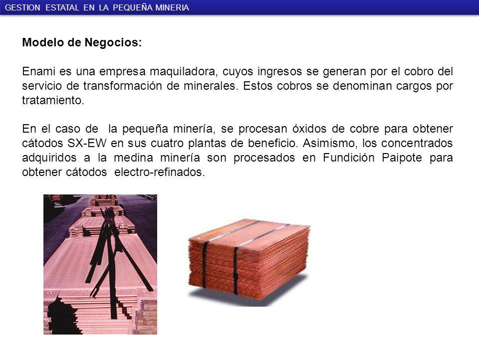 Modelo de Negocios: Enami es una empresa maquiladora, cuyos ingresos se generan por el cobro del servicio de transformación de minerales.