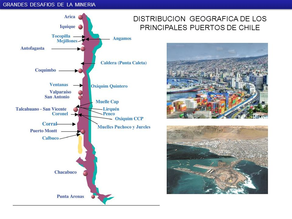 GRANDES DESAFIOS DE LA MINERIA DISTRIBUCION GEOGRAFICA DE LOS PRINCIPALES PUERTOS DE CHILE