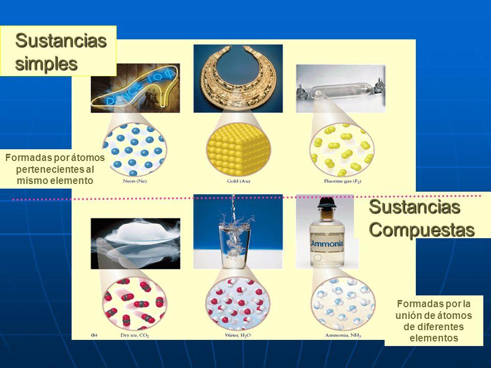 Moléculas de oxígeno formada por dos átomos de dicho elemento. Molécula de ozono en la cual se unen 3 átomos de oxígeno. Las sustancias compuestas se